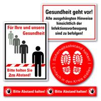 Kennzeichnungs-Set 1, zur Einhaltung der Corona-Virus-Schutzmaßnahmen, 10/VE
