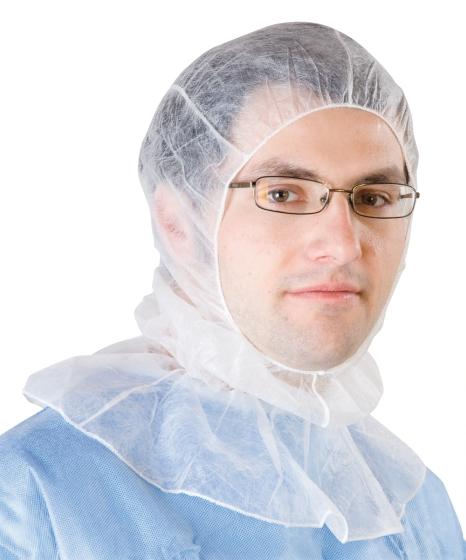 Reinraumkapuze weiß PP-Vliesstoff Einheitsgröße