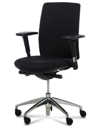 Bürodrehstuhl,Synchronmechanik,m. verst. Armlehnen,Sitz Stoff schwarz,Sitz HxBxT 410-530x470x460mm,Rücken Stoff schwarz