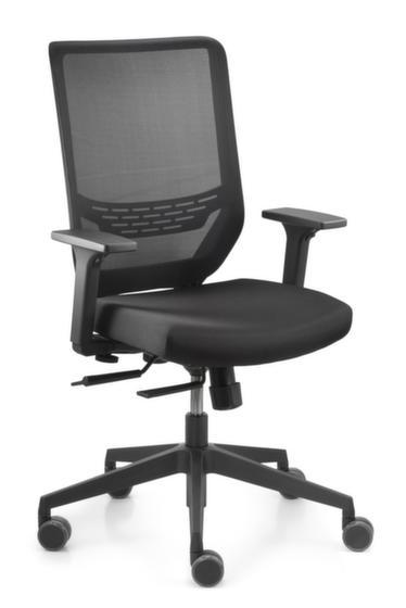 Bürodrehstuhl,Synchronmechanik,m. verst. Armlehnen,Flachsitz schwarz,Sitz H 410-520mm