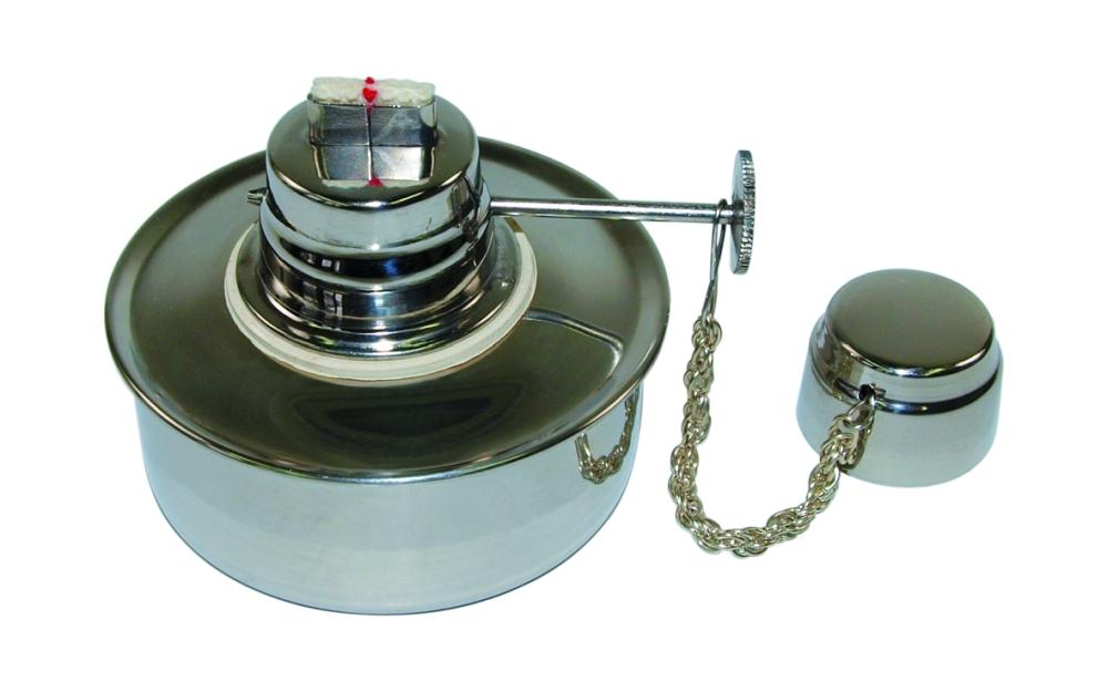 Spiritusbrenner 60ml 18/8 Stahl mit Dochtregulierung und Verschlußkappe - Spiritusbrenner 60ml 18/8 Stahl mit Dochtregulierung und Verschlußkappe