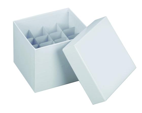 Kryobox 145x145x122mm mit Deckel Karton weiß für 15/50ml Röhrchen